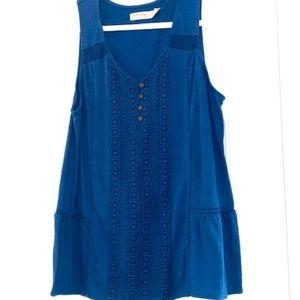 Blue Sleeveless Tunic with Ruffle - Size L